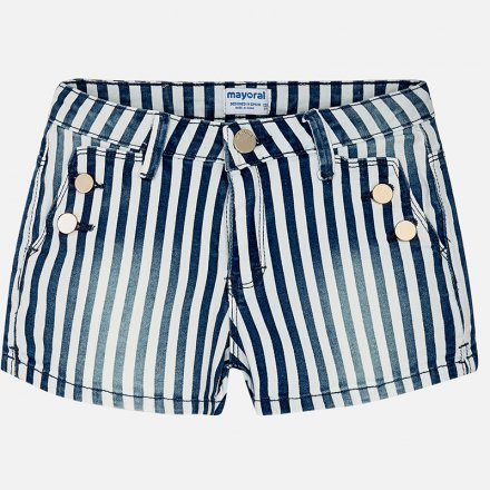 Dievčenské pruhované šortky z rifloviny