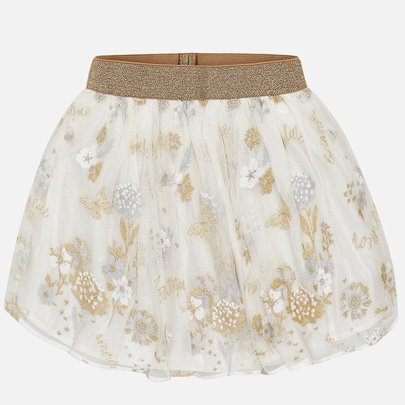 f89611b0f9f5 Krásna tylová sukňa vyšívaná s kvetmi Mayoral 06900-058