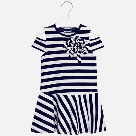 Dievčenské pruhované šaty z úpletu v námorníckom štýle