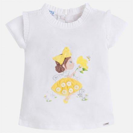 Dievčenské tričko s krátkym rukávom zdobená s mašličkou