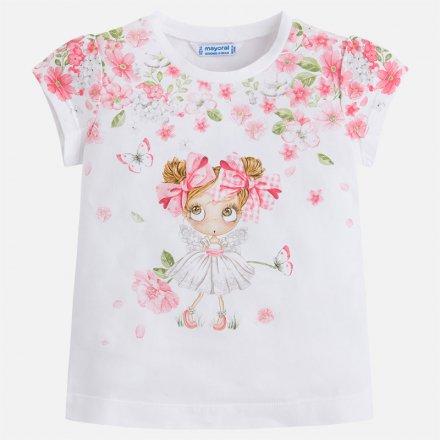 Dievčenské tričko s krátkym rukávom s potlačou a kamienkami