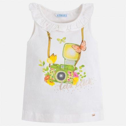 Dievčenské tričko bez rukávov s volánom okolo výstrihu