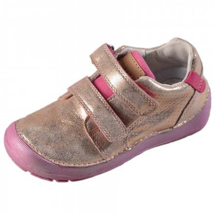 Dievčenské kožené prechodné BAREFOOT topánky-Metallic Pink