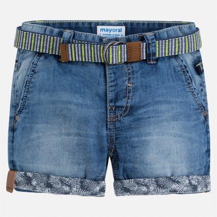 Chlapčenské šortky s opaskom z mäkkej rifloviny