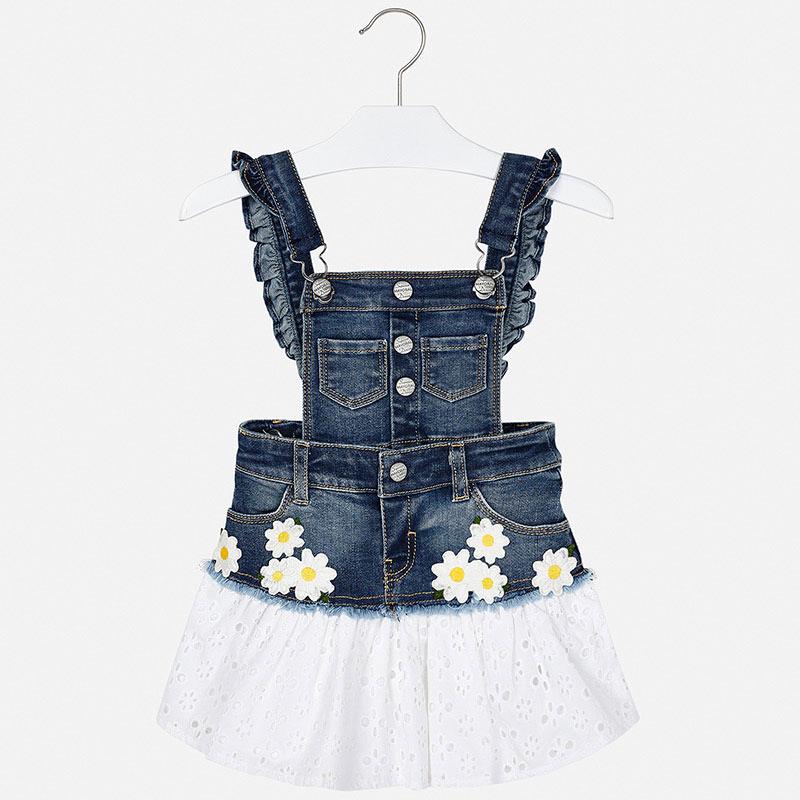 Kombinované riflové šaty na traky s vyšívanou sukňou
