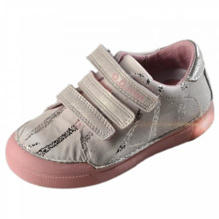 Dievčenské kožené blikajúce topánky-White