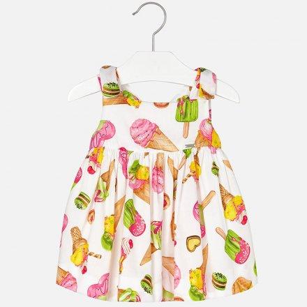 Letné šaty bez rukávov s farebnou potlačou