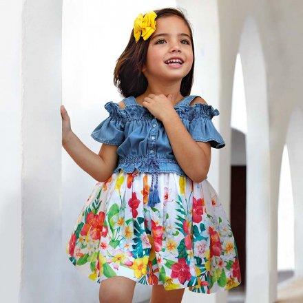 Kombinované letné šaty na ramienka s kvetinkami