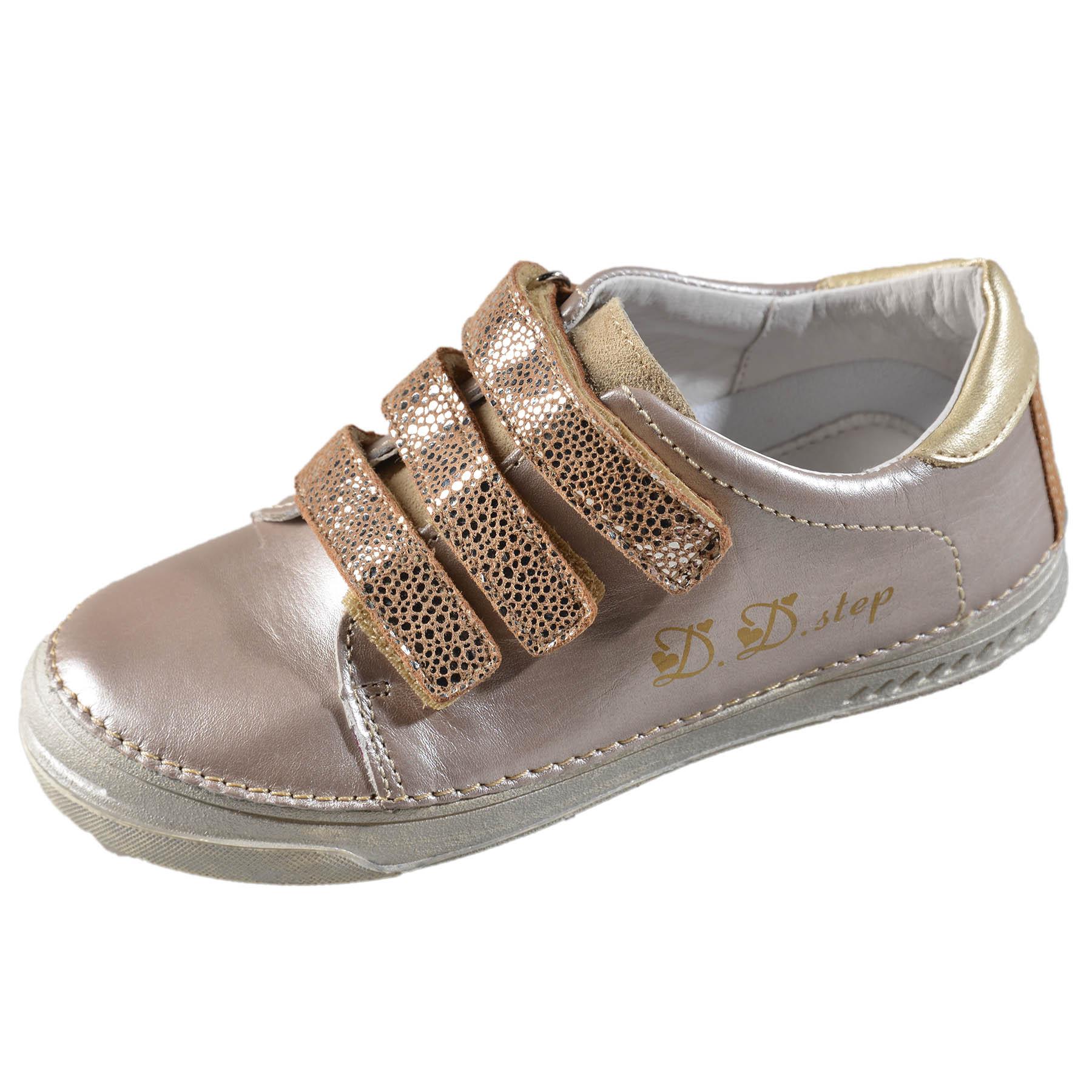 7e4c7df3d641 Dievčenské kožené prechodné topánky-Champagne DDstep - 040-409AL ...