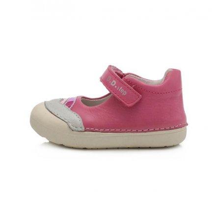 Dievčenské kožené otvorené BAREFEET polotopánky-Pink