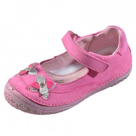 Dievčenské kožené balerínky-Dark pink