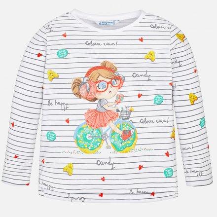 Dievčenské džersejové tričko s dlhým rukávom a potlačou