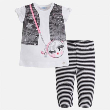 Dievčenská letná súprava tričko so štrasom a legíny
