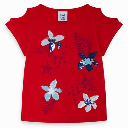 Dievčenské tričko s krátkym rukávom a s flitrami