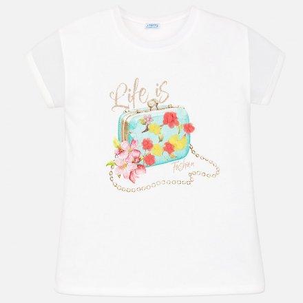 Dievčenské tričko s krátkym rukávom zdobená so štrasom