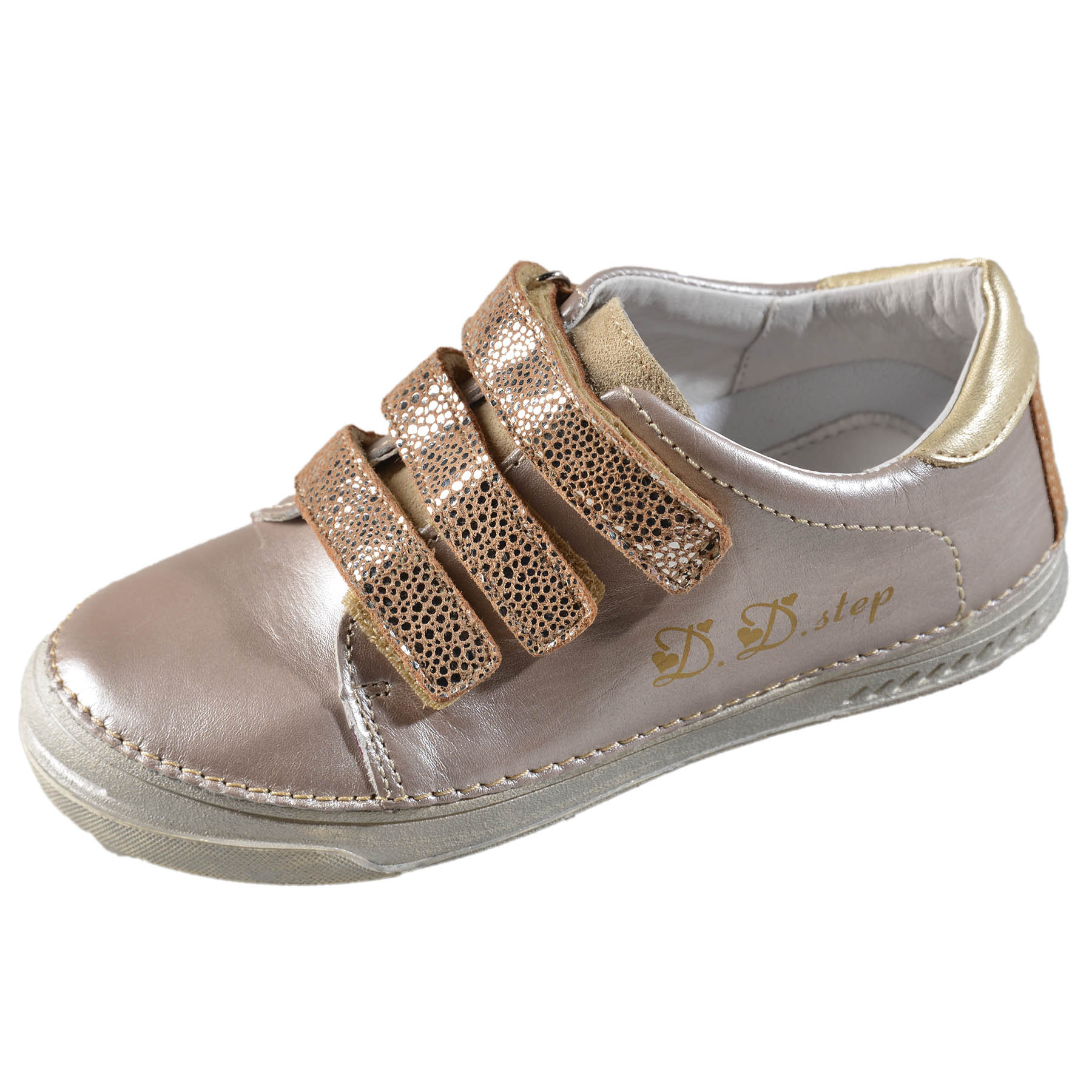 Dievčenské kožené prechodné topánky-Champagne DDstep - 040-409AM ... 98a753ecefe