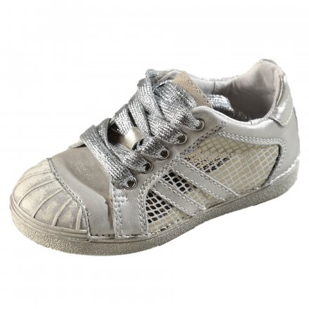 Dievčenské kožené prechodné topánky-White/Silver