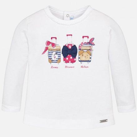 Dievčenské tričko s dlhým rukávom a s mašličkami