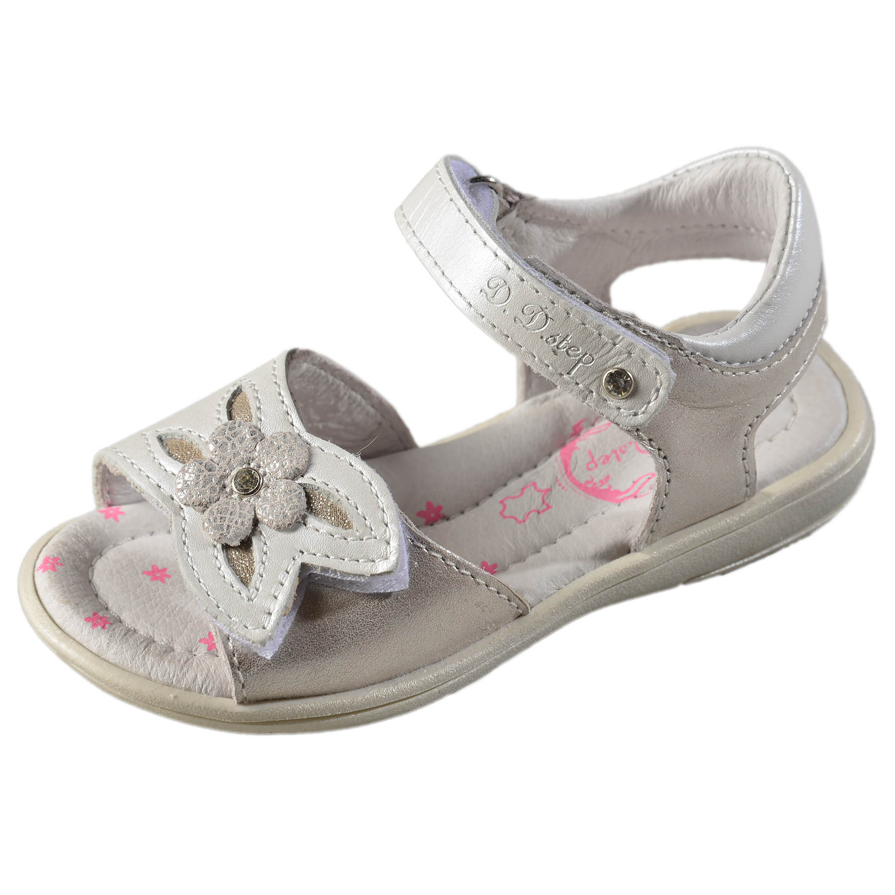 105c5bec96 Dievčenské kožené sandále-Silver DDstep - K03-3001L