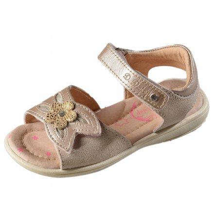 Dievčenské kožené sandále-Champagne