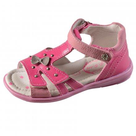 Dievčenské kožené sandále-Dark Pink