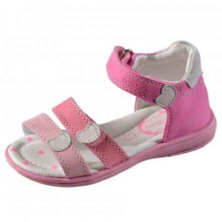 Dievčenské kožené sandále - Dark pink
