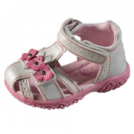 Dievčenské kožené sandále-Silver