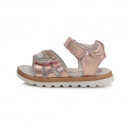 Dievčenské kožené sandále-Metallic Pink