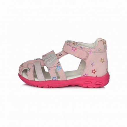 Dievčenské kožené sandále-MAuve