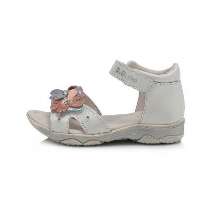 Dievčenské kožené blikajúce sandálky-White