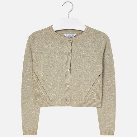 Dievčenský bavlnený sveter na gombíky s okrúhlym výstihom