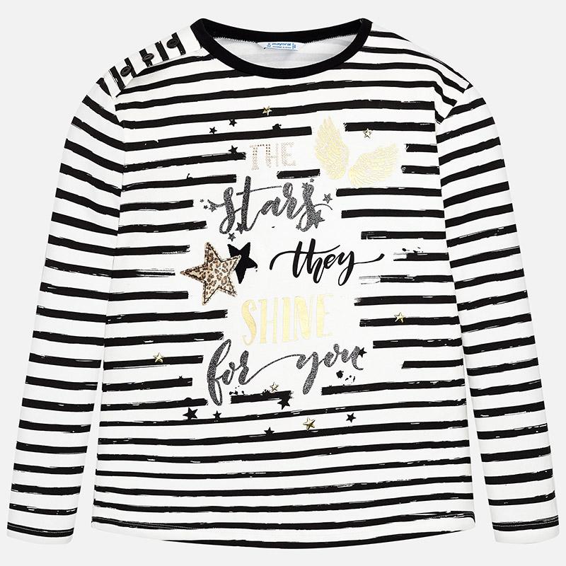 4b8ed3d70a61 Dievčenské pruhované tričko s dlhým rukávom a s potlačou Mayoral ...