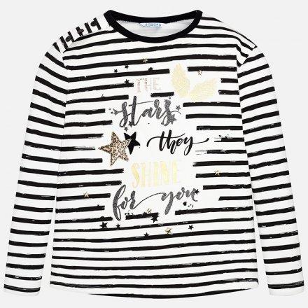 Dievčenské pruhované tričko s dlhým rukávom a s potlačou