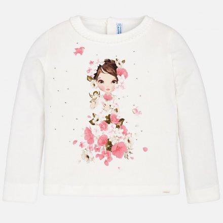 Dievčenské tričko s dlhým rukávom a volánom okolo výstrihu