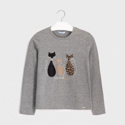 Dievčenské tričko s dlhým rukávom s kožušinkovou ozdobou