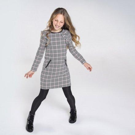 Dievčenské kockované šaty s dlhým rukávom