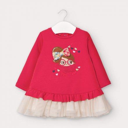 Dievčenské šaty s  dlhým rukávom tylovou sukňou