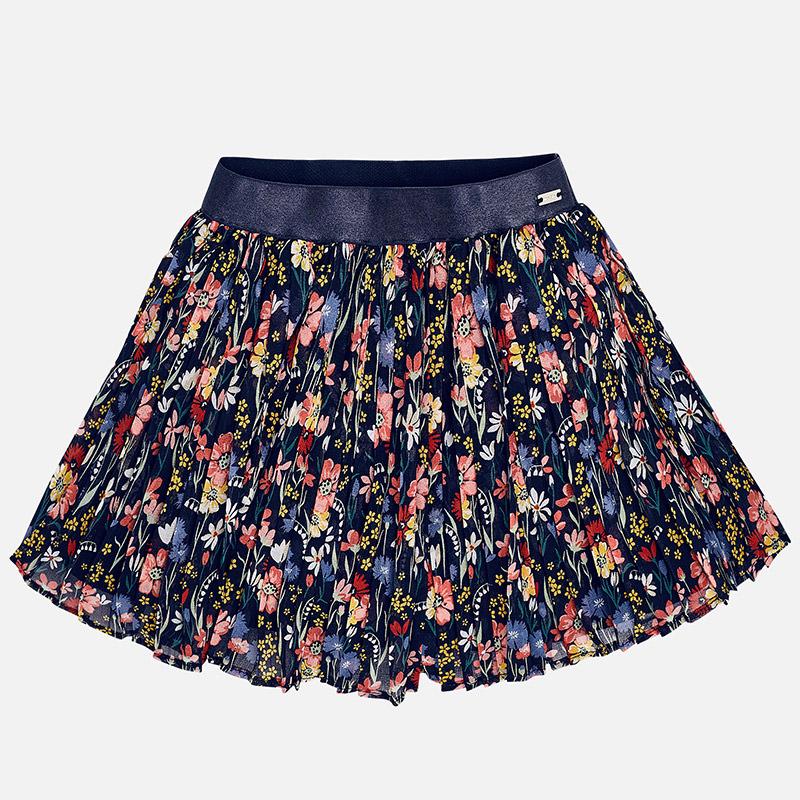Skladaná sukňa s kvetinkami s džersejovou podšívkou