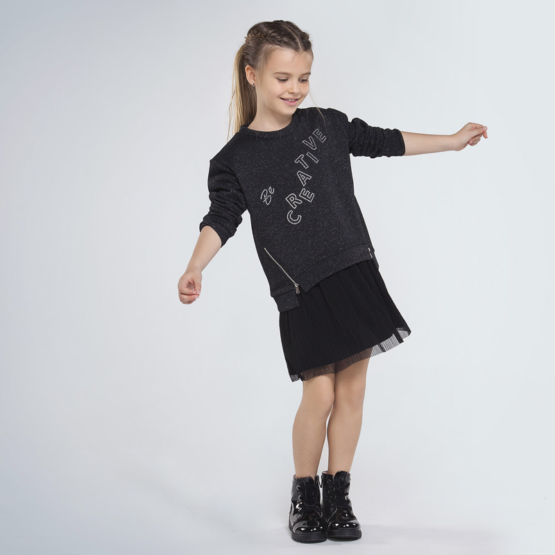 Dievčenský komplet šaty bez rukávov s tylovou sukňou a mikina