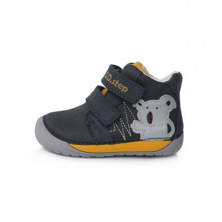 Chlapčenské prechodné kožené topánky-Royal blue-Bare Foot