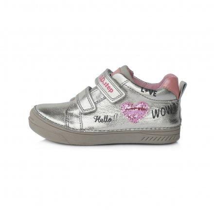 Dievčenské kožené prechodné topánky-Silver