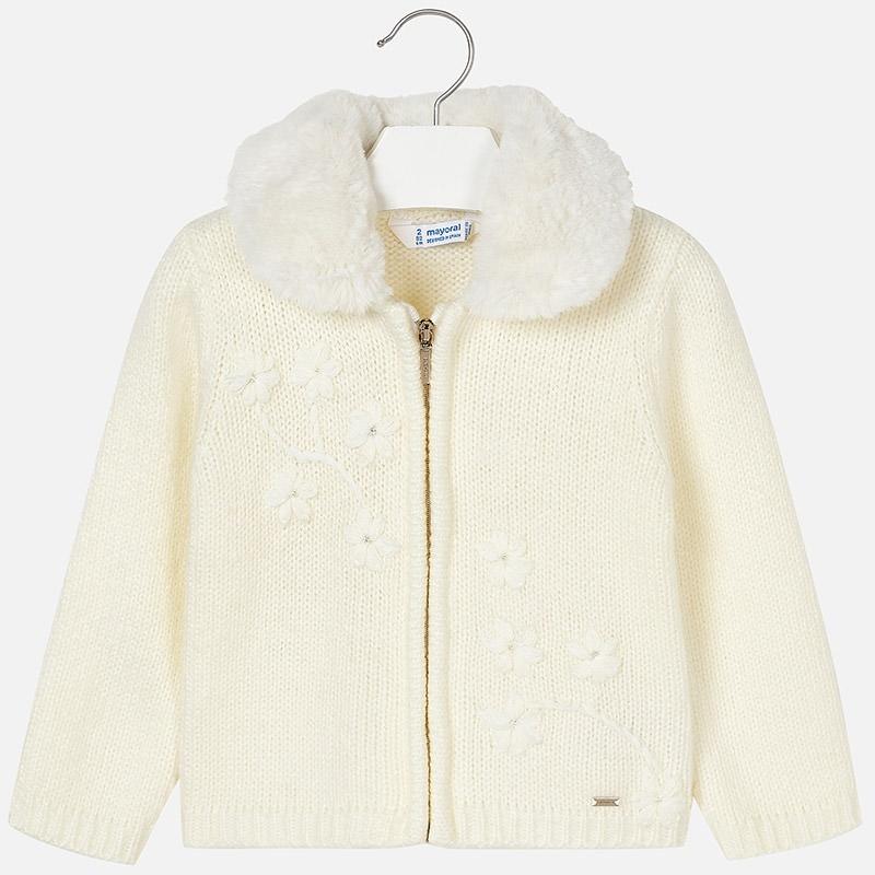 96a154d04a08 Dievčenský pletený sveter na zips s kožušinkou Mayoral - 04340-052 ...