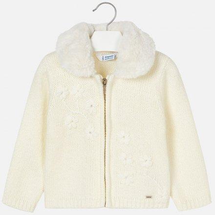 Dievčenský pletený sveter na zips s kožušinkou