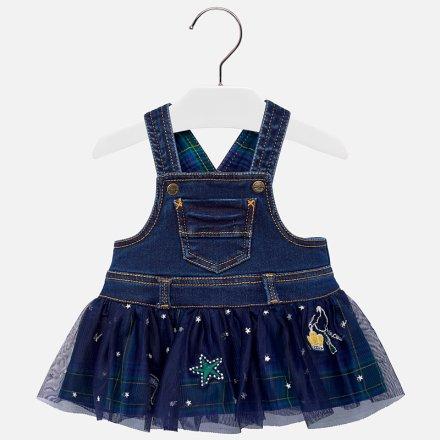 Dievčenské riflové  šaty s tylovou sukňou