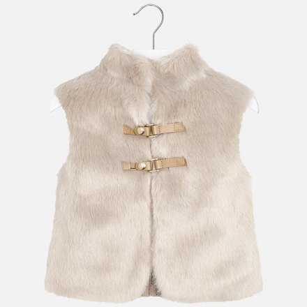 Dievčenská kombinovaná kožušinková vesta