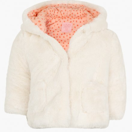 Dievčenská kožušinová bunda s kapucňou