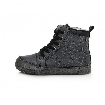 Dievčenské kožené kotníkové  topánky-Black