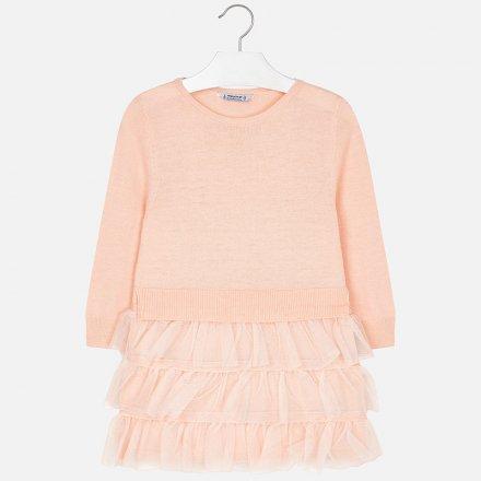 Kombinované šaty s perím