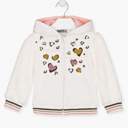Dievčenská kombinovaná kožušinková bunda s kapucňou