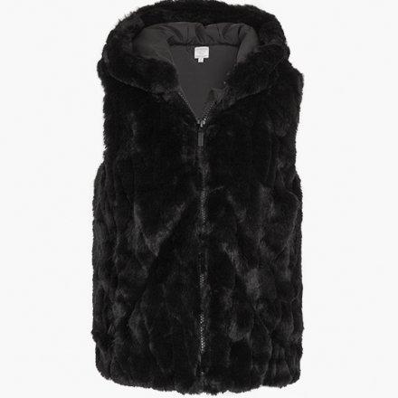 Dievčenská kožušinková vesta s kapucňou